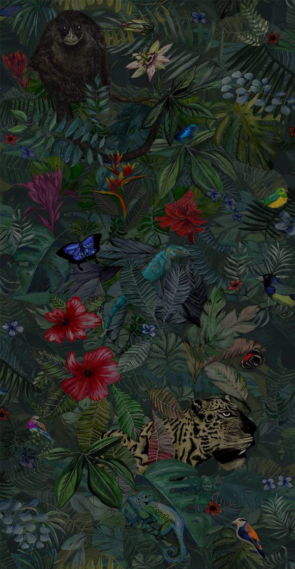 The Waking Jungle wallpaper. Luxury jungle style wallpaper with tropical flowers and exotic animals.