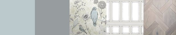 Pastel colours birds and flowers designer wallpaper. Yellow gold background and pastel coloured birds. Hand drawn wallpaper for feature walls.